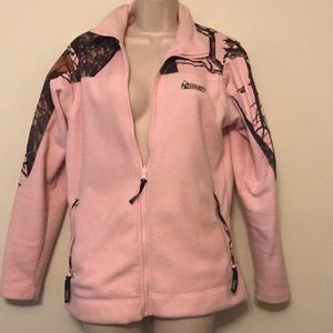 Pale pink and camo fleece jacket